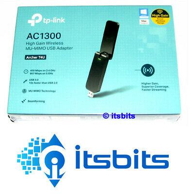 TP-LINK ARCHER T4U WIRELESS USB 3.0 DUAL BAND ADAPTOR AC1300 5GHz & 2.4GHz