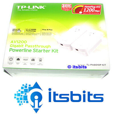 Tp-Link Tl-Pa8010Pkit A1200 Passthrough Powerline Adaptor Starter Kit Upto 300M