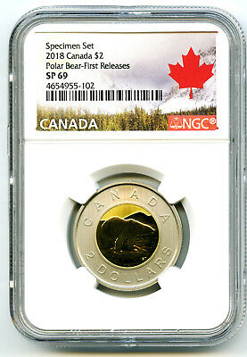 2018 Canada $2 Ngc Sp69 First Releases Frosted Polar Bear Two Dollar Toonie Rare