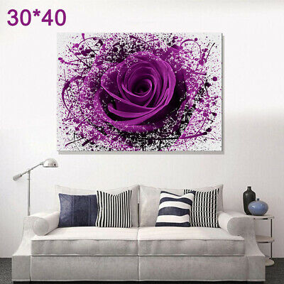 LARGE MODERN PURPLE ROSE FLOWERS Canvas Print Prints Unframed Pictures Wall Art