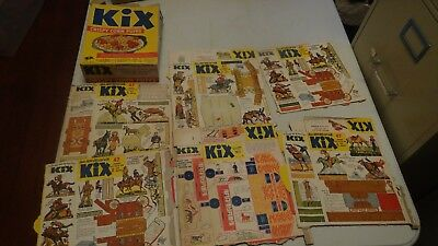 Lot of 7 VINTAGE RARE KIX Cereal Box 40s 50s COUNTY FAIR Rodeo Cut-Out FREE SHIP