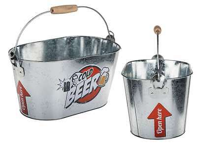 Cold Beer Retro Metal Bucket Case With Wooden Handle Bbq With 2 Bottle Openers
