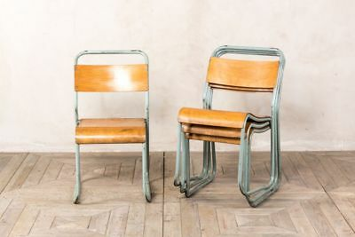 Vintage Retro Seating Grey Industrial Stacking Chairs Stackable Dining Chairs