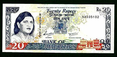 Mauritius 20 Rupees P36 Unc (1985-91) Woman At Lrft,arms,satelite Dishes Tdlr
