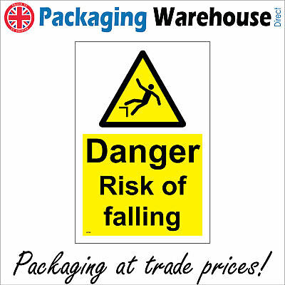 Danger Risk Of Falling Sign Ws594 Safety Sticker Rigid Indoor Outdoor