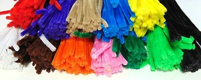 "BULK QUANTITIES 600 pcs CHENILLE STEMS CRAFT PIPE CLEANERS 12"" ASSORTED COLOURS"
