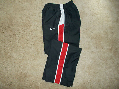 Nike Black W/red Stripe Lined Athletic Pants Boys Medium Excellent Condition