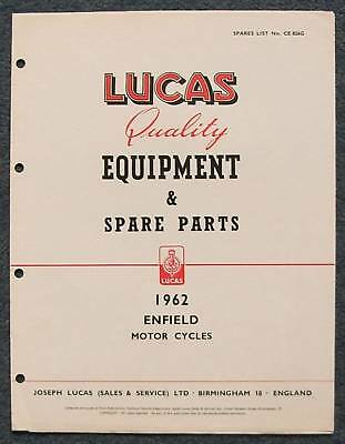 LUCAS ENFIELD Motorcycles Spare Parts List 1962 #CE826G