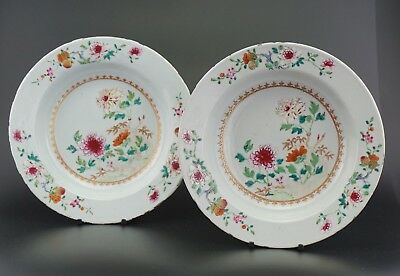 FINE! PAIR Antique Chinese Porcelain Famille Rose Flower Plate Charger 18th C