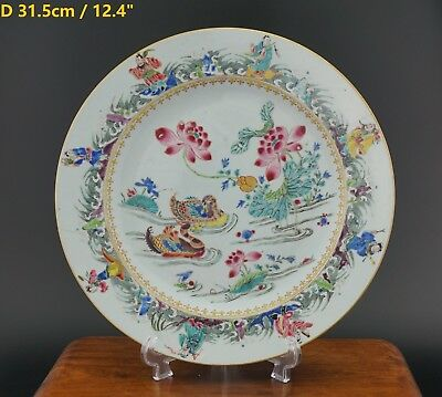V-FINE! LARGE Chinese Famille Rose Quail Eight Immortal Plate YONGZHENG 18th C