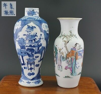 2 x Antique Chinese Blue and White Famille Rose Porcelain Prunus Blossom Vase