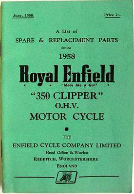 ROYAL ENFIELD 350 Clipper - Motorcycle Owner's Parts List - 1958 -#666/2½M-658