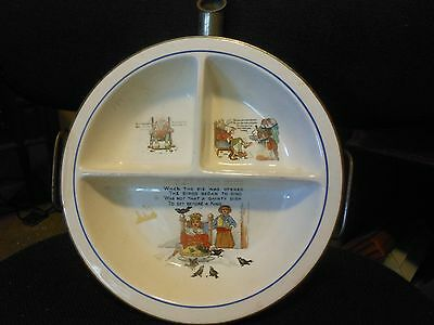 Vtg. Metal and China Baby Warming Sectional Dish Old King Cole Poem 3 images