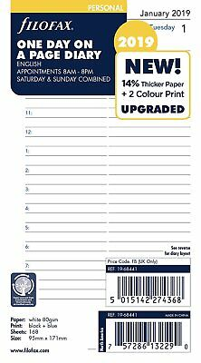 Filofax 2019 Personal size Diary One Day on a Page Appointment Insert 19-68441
