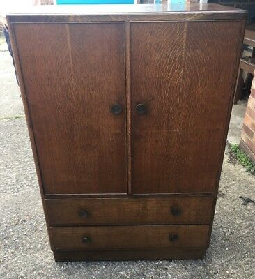 Art Deco Oak Ply Tall Boy Chest Ideal For Painting