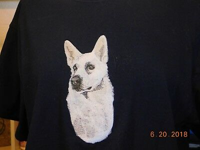 New White German Shepherd Head Study Embroidered T-Shirt Add A Name For Free