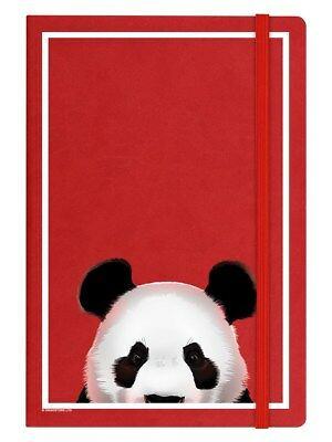Inquisitive Creatures Panda A5 Hard Cover Red Notebook 14 x 21cm