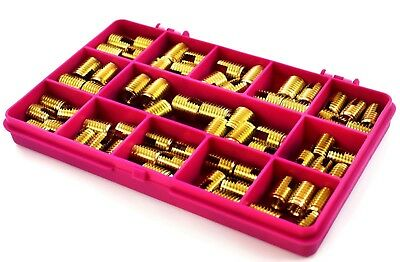 65 Piece Assorted Slotted Brass Insert Metric Self Tapping Threaded Screw In Kit