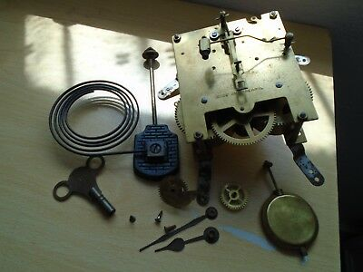 Vintage Clock  Parts ,  Clock Movement ,pendulum Hands Key Made In England