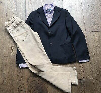 RALPH LAUREN Boys Shirt Blazer Jacket Chino Trousers Formal Outfit Set Age 8