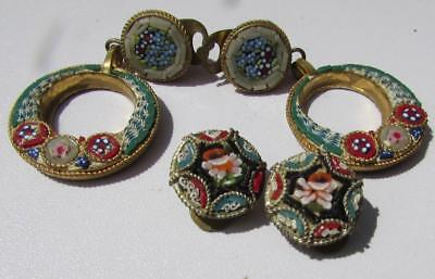 2 no. Pairs Vintage / Antique Micro Mosaic Italian Earrings - Gilt Metal