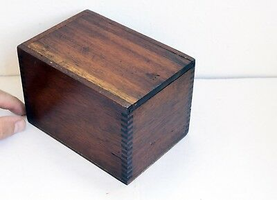Delightful Small Antique Wooden Box with Slide Lid. Dovetailed. 14.5 x 10 x 10cm