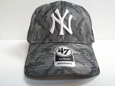 3d5b675a100 New York Yankees 47 Brand Cap MVP Smokelin Camo Adjustable Hook Loop Strap  Hat