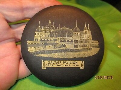 Vintage Large Pocket Mirror Saltair Pavilion Great Salt Lake Utah