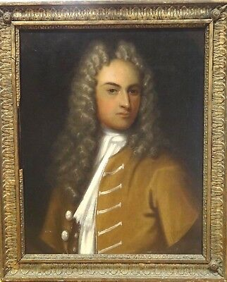 Fine Large 18th Century English Master Gentleman Brown Jacket Portrait Painting