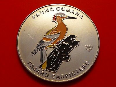 World Coin 1 Peso,  2001, Woody Woodpecker, Carpenter Bird , KM#829