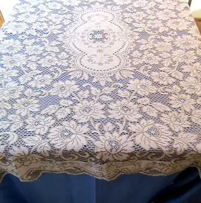 Quaker Style Lace Tablecloth 53x62 Rectangle Floral Cotton Gray and Beige