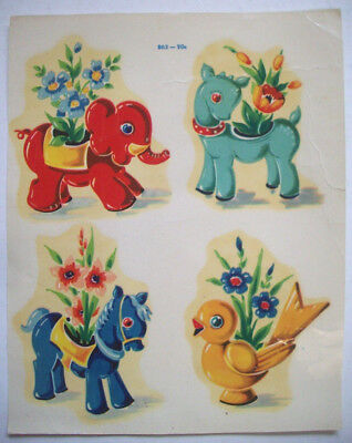 Cute animal planters with flowers Meyercord transfer sheet D5 decorations