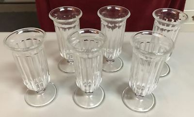 6 Footed Ice Cream Soda Fountain Float Parfait Glasses
