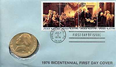 1976 Bicentennial/Commemorative Medal w/First Day Issue Postmark EA376