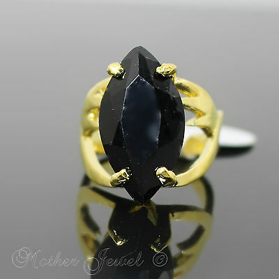 Magnificence Large 24Mm Black Solitaire Cz Yellow Gold Plate Ring Size 9.5 S