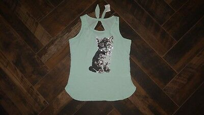 NWT Justice Size 16 Mint Green Kitty Cat Sequin Top Shirt