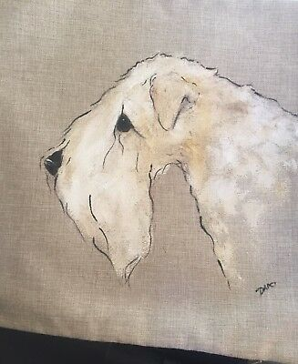 Wheaten Terrier Hand Painted Pillow Cover  Insert Not Included Artist Darci