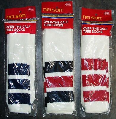 3 Pair Vintage Usa Nelson Over The Calf Orlon Tube Socks 9-15 Nos In Packages