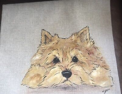 Norwich Terrier Hand Painted Pillow Cover  Insert Not Included Artist Darci
