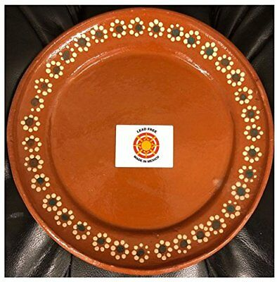 "Made in Mexico 24cm 9.5"" Mexican Dinner or Salad Clay Plates Set of 4 Lead Free"