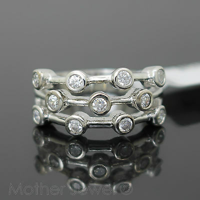 Perfect Gift Simulated Diamond Cluster Sterling Silver Plate Dress Ring Size 6