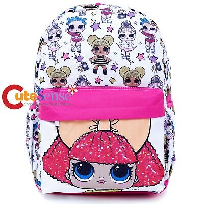 LOL Surprise Large School Backpack Large Girls Book Bag All Over Print White