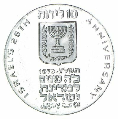 Roughly Size of Silver Dollar 1973 Israel 10 Lirot World Silver Coin 25.9g *534