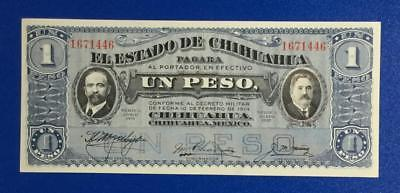 """1914 $1 Choice Uncirculated Mexico LARGE SIZE """"UN PESO"""" Currency! Very Nice!"""