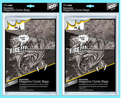 200 ULTRA PRO MAGAZINE SIZE RESEALABLE Comic Storage BAGS New Archival Sleeves