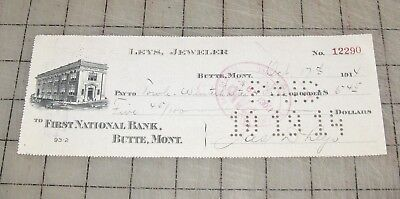 1914 LEYS JEWELER First National Bank of Butte, Montana Cancelled Check