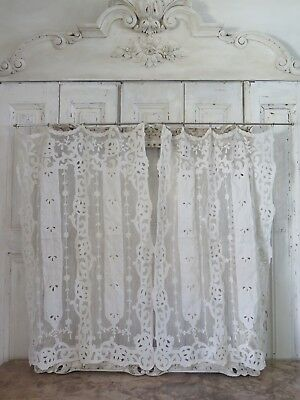 Antique french CURTAINS 1890 Cornely BRODERIE Victorian VORHANG ANTIK Shabby N 2