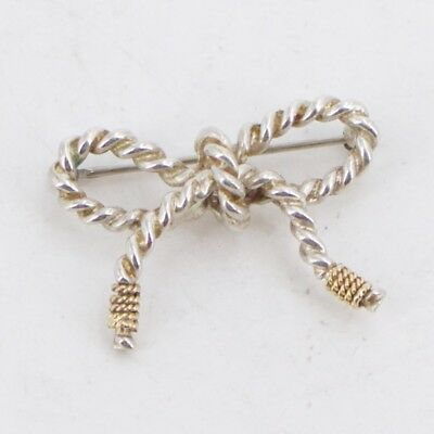 Sterling Silver & 18K Tiffany & Co. Twisted Rope Bow Brooch - 6g