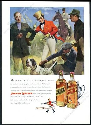 1949 pointer dog hunting theme Johnnie Walker Scotch Whisky vintage print ad