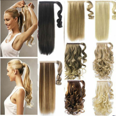 22inch Extensions de Cheveux à Clip Queue Cheval Humains Remy Hair Cosplay